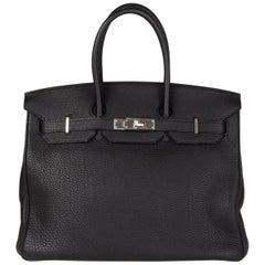HERMES black Clemence leather & Palladium BIRKIN 35 Bag