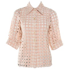 Chloe Shadow Pink Embroidered Guipure Lace Short Sleeve Blouse S