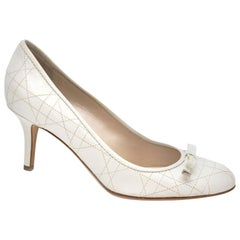 Dior White Quilted Lambskin Sweet Cannage Leather Heels - Size 37.5