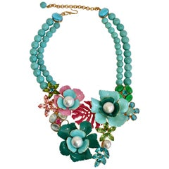 Philippe Ferrandis Turquoise Stone Necklace with Enamel and Swarovski Crystals