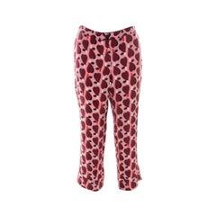 Miu Miu Pink Printed Silk Cropped Straight Leg Pants S