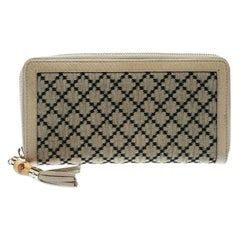 656b6e29529 Gucci Beige Diamante Canvas and Leather Bamboo Tassel Zip Around Wallet