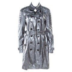 Burberry London Metallic Lamb Leather Belted Trench Coat M