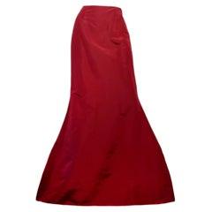 Oscar de la Renta Burgundy Satin High Low Skirt NWT Sz 12