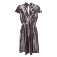 Just Cavalli Silver Textured Short Sleeve Keyhole Detail Dress M