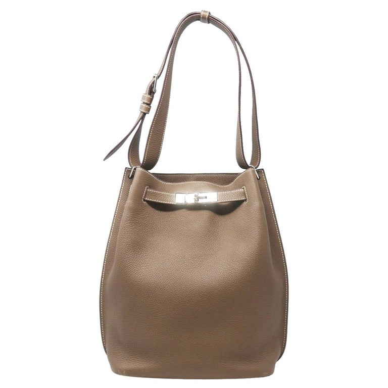 Hermes Clemence So Kelly 22 Toupe Leather Shoulder Bag For Sale