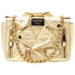 Moschino Gold Leather Large Biker Jacket Shoulder Bag