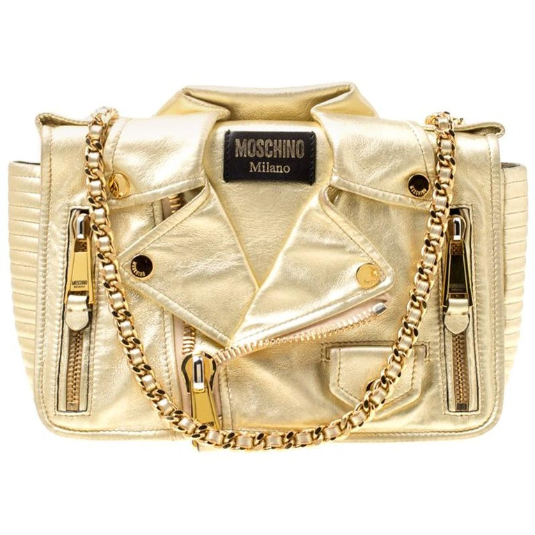 aa267231b1 Moschino Gold Leather Large Biker Jacket Shoulder Bag For Sale at ...