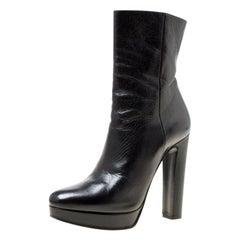 Prada Black Leather Platform Ankle Boots Size 36