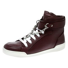 Dsquared2 Bordeaux Leather Lock And Key High Top Sneakers Size 44