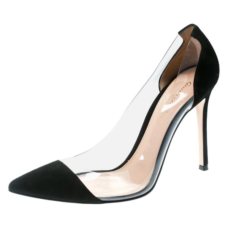 092dbb575 Gianvito Rossi Black Suede and PVC Plexi Pointed Toe Pumps Size 38.5 For  Sale