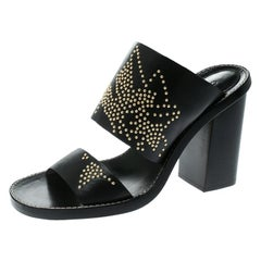 Chloe Black Leather Studded Sandals Size 36