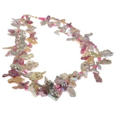 Gemjunky Delicate Two strand Pink and White Pearl Choker Necklace