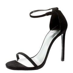 Stuart Weitzman Black Textured Suede Ankle Strap Open Toe Sandals Size 39.5