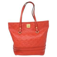 Louis Vuitton Red Empreinte Citadine PM Tote Bag w/ Attached Pochette