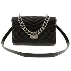 Chanel Black Lambskin Chevron Crossbody Bag