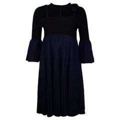 Fendi Navy/Black Knit Dress W/ Mink Fur Heart Detail Sz IT38/US2