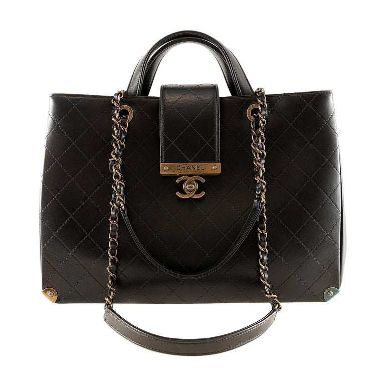 Chanel Black Leather Executive Shopper For Sale