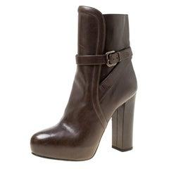 Prada Dark Brown Leather Platform Ankle Boots Size 36