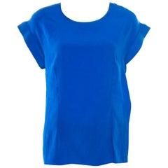 Balenciaga Blue Contrast Criss Cross Velvet Overlay Top L