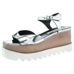 Stella McCartney Silver Faux Leather Indium Elyse Star Wedge Sandals Size 38
