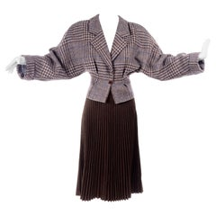Giorgio Armani 1980s Cropped Houndstooth Jacket W Pleated Brown Wool Skirt Suit