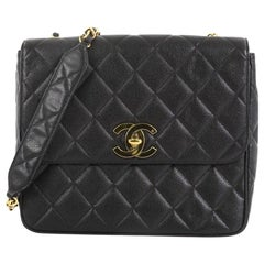 214df26e33d7 Chanel Vintage Square CC Flap Bag Quilted Caviar Medium