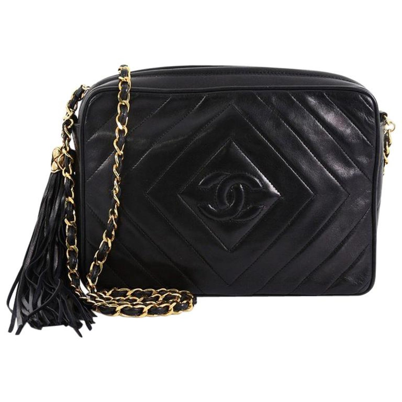 da0a1ff5928f Chanel Vintage Camera Tassel Bag Chevron Lambskin Small at 1stdibs