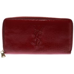 Saint Laurent Burgundy Patent Leather Bell De Jour Zip Around Wallet