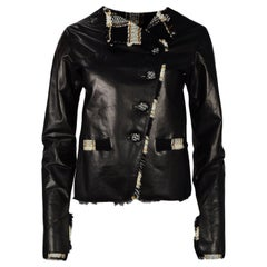 Chanel 2007 Black Leather Jacket W/ Tweed Trim Sz FR36
