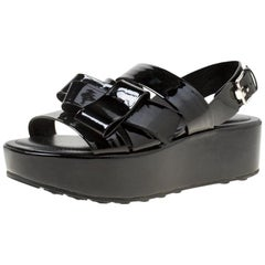 Tod's Black Patent Leather Slingback Platform Sandals Size 39