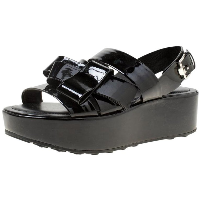 6a405043c6 Tod's Black Patent Leather Slingback Platform Sandals Size 39 For Sale