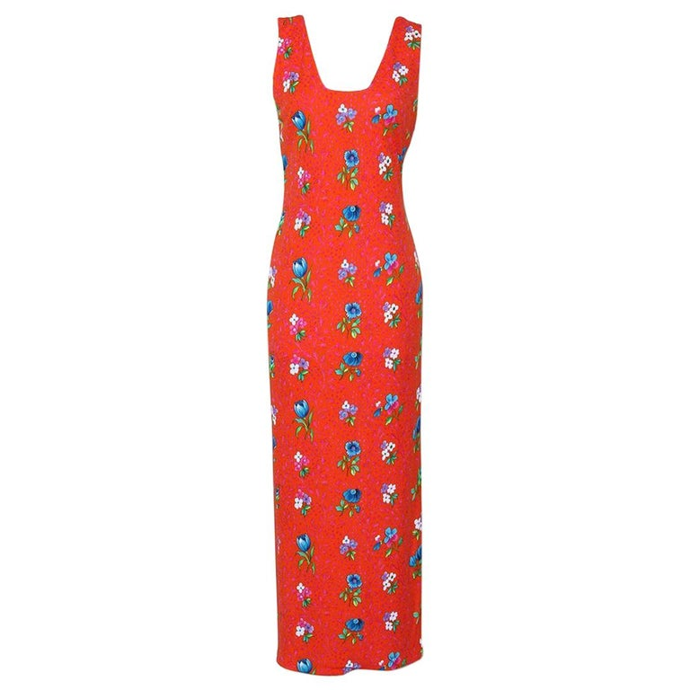 Versace Spring Summer 1993 Floral Jersey Maxi Dress For Sale