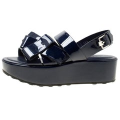 Tod's Navy Blue Patent Leather Slingback Platform Sandals Size 39.5