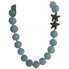 Aquamarine Exclusive 925 Oxidized Sterling Silver Clasp Gemstone Necklace