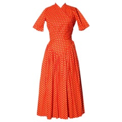 """Claire McCardell Spring Summer 1956 Printed Cotton """"Pop-Over"""" Dress"""