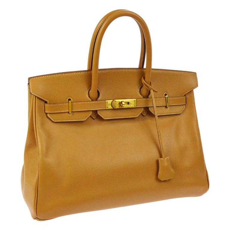 Hermes Birkin 35 Cognac Leather Gold Travel Carryall Top Handle Satchel Tote For Sale