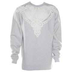 Burberry Grey Melange Cutout Lace Insert Sweatshirt XL