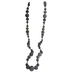 Grey Druzy Quartz 925 Sterling Silver Long Gemstone Necklace