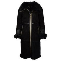 Ferragamo Black Shearling Coat W/ Quilted Leather & Fur Trim Sz US2