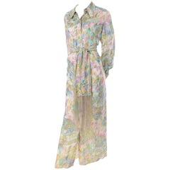 Nat Kaplan Couture Vintage Dress in Metallic Gold & Pastel Paisley Caftan Style