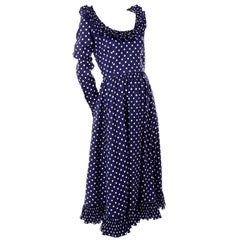 1970s Victor Costa Navy Blue & White Polka Dot Vintage Dress With Ruffles