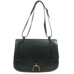 Hermes Black Leather Gold Horsebit Top Handle Satchel Saddle Shoulder Flap Bag