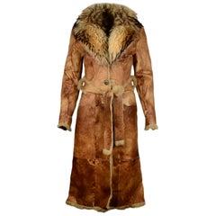 Baya Paris Tan Reversible Shearling/Fur Coat W/ Fur Collar & Belt Sz S