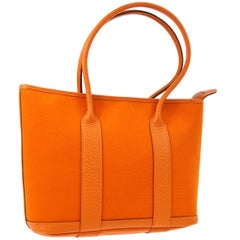 Hermes Orange Leather Canvas Top Handle Satchel Carryall Tote Bag