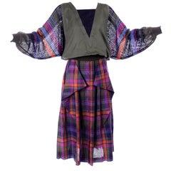 1980s Escada Green Pink Blue & Orange Plaid 2 pc Dress w/ Skirt & Linen Top