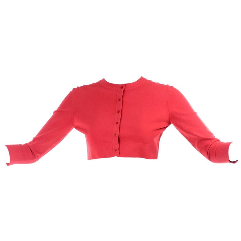 Azzedine Alaia Deep Coral Cropped Crew Neck Sweater w/ 3/4 Length Sleeves For Sale