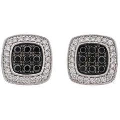 JASON OF BEVERLY HILLS Black & White Diamond 14K White Gold Stud Earrings