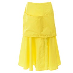 New 1980s Gianni Versace Yellow Cotton Flared Skirt w Front Pocket Apron w/ Tags