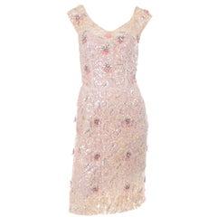 1960s Harvey Berin Karen Stark Pink Beaded Cocktail Dress With Sequins